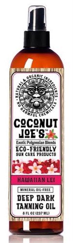 COCONUT JOE'S ECO-FRIENDLY SUN CARE-HAWAIIAN LEI-TANNING OIL-8 OZ.